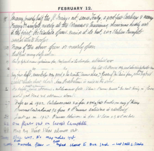 Diary extract February 12th