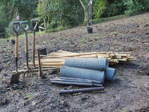 stakes, tree guards and rabbit netting