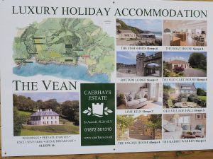 new advertorial sign for The Vean and our holiday lets