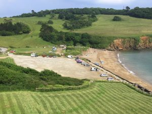 views over Porthluney Beach
