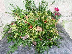 Christmas arrangement front door